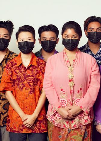 The cast of Homesick wearing surgical masks